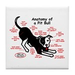 Pitbull Anatomy Tile Coaster