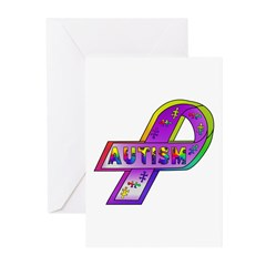 AUTISM Ribbon Greeting Cards (Pk of 10)