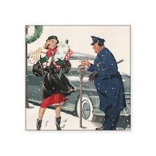 "Vintage Christmas Shopping Square Sticker 3"" x 3"""