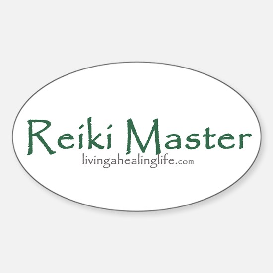 Reiki Master, green Oval Decal