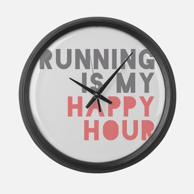 Running Is My Happy Hour Large Wall Clock