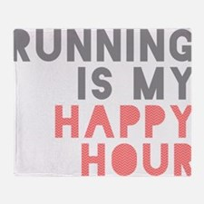 Running Is My Happy Hour Throw Blanket