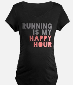 Running Is My Happy Hour Maternity T-Shirt