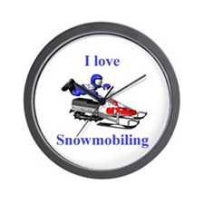 I Love Snowmobiling Wall Clock