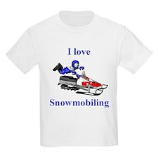 I Love Snowmobiling Kids T-Shirt