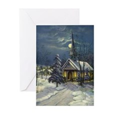 Vintage Church in Winter Snow Greeting Card