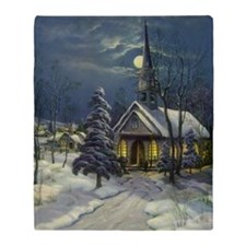 Vintage Church in Winter Snow Throw Blanket