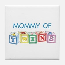 Mommy of Twins Blocks Tile Coaster