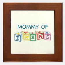 Mommy of Twins Blocks Framed Tile