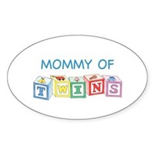 Mommy of Twins Blocks Oval Decal