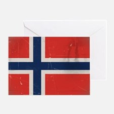 antiqued Norwegian flag Greeting Card
