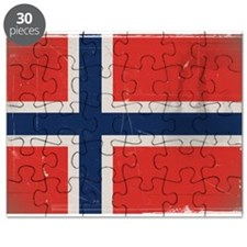 antiqued Norwegian flag Puzzle