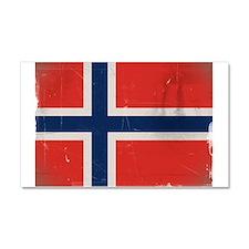 antiqued Norwegian flag Car Magnet 20 x 12