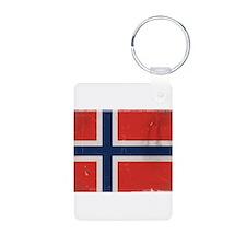 antiqued Norwegian flag Keychains