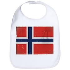 antiqued Norwegian flag Bib