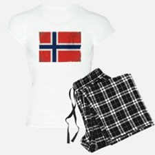 antiqued Norwegian flag Pajamas