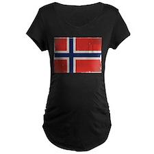 antiqued Norwegian flag Maternity T-Shirt