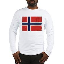 antiqued Norwegian flag Long Sleeve T-Shirt