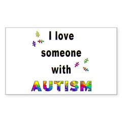I Love Someone With Autism! Rectangle Decal