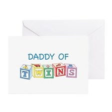 Daddy of Twins Blocks Greeting Cards (Pk of 10