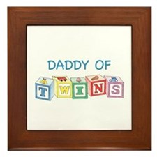 Daddy of Twins Blocks Framed Tile