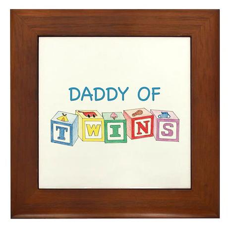 Daddy of Twins Blocks Framed Tile