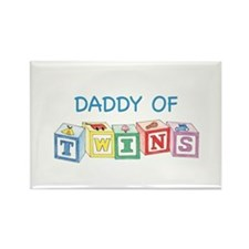 Daddy of Twins Blocks Rectangle Magnet