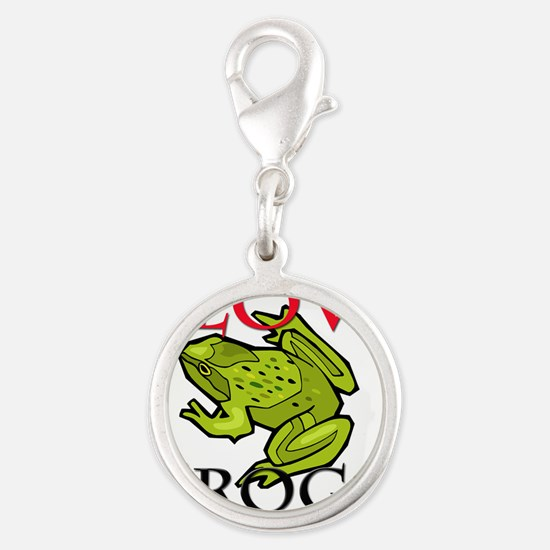 FROGS10270 Silver Round Charm