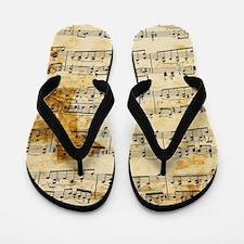 Vintage Music Flip Flops