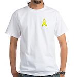 Yellow Awareness Ribbon White T-Shirt