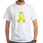 Yellow Awareness Ribbon White T-Shirt