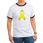 Yellow Awareness Ribbon Ringer T