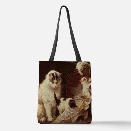 Vintage Cat Artwork Polyester Tote Bag