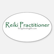 Reiki Practitioner, green Oval Decal