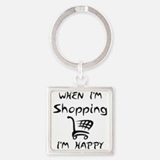 Shopping (Black) Square Keychain