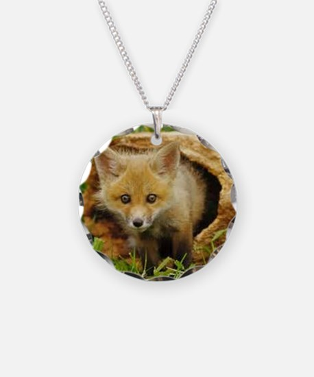 Fox in Log Necklace Circle Charm