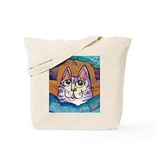 Fun Happy Purple Cat Tote Bag