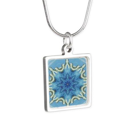 Ocean Fractal Center Silver Square Necklace