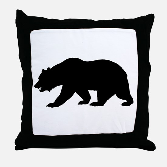 Black California Bear Throw Pillow