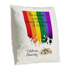 Celebrate Diversity Burlap Throw Pillow