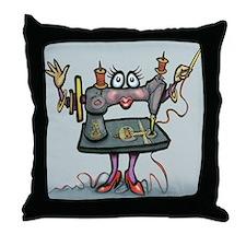 Cute The sewing machine Throw Pillow