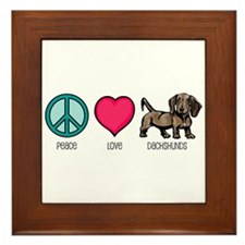 Peace Love & Dachshunds Framed Tile