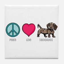 Peace Love & Dachshunds Tile Coaster