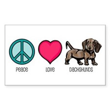 Peace Love & Dachshunds Rectangle Decal