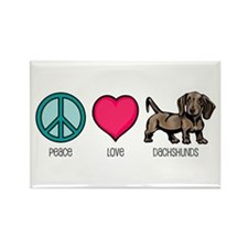 Peace Love & Dachshunds Rectangle Magnet