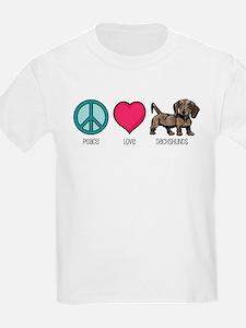 Peace Love & Dachshunds Kids T-Shirt