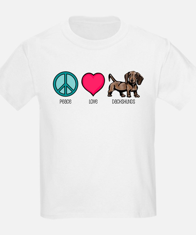 Peace Love & Dachshunds Kids T-Shirt
