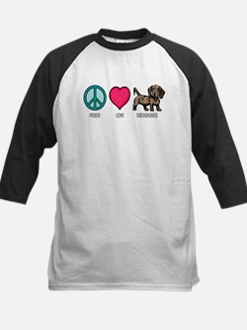 Peace Love & Dachshunds Kids Baseball Jersey