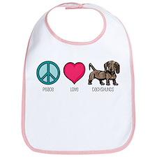 Peace Love & Dachshunds Bib