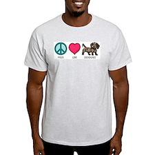 Peace Love & Dachshunds Ash Grey T-Shirt